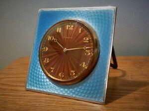 SOLID SILVER GUILLOCHE ENAMEL CLOCK WITH ENAMEL FACE LONDON 1930
