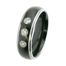 NEW G SI 0.20ct 3 Stone Black Zirconium Diamond Ring