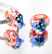 1pcs SILVER MURANO GLASS BEAD LAMPWORK Animal fit European Charm Bracelet DW295