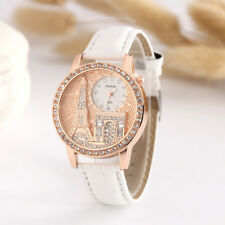 Fashion Women Lady Eiffel Tower Dial Faux Leather Band Quartz Wrist Watch Luxury