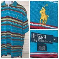 Polo Ralph Lauren Sz XL Turquoise Blue Stripe S/S Texture Polo Shirt Cotton EUC