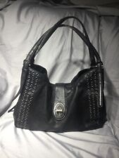 COACH 32401 $498 Madison Grommet Carlyle Turnlock Black Leather Bag Purse