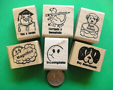 Spanish Only Teacher's Rubber Stamp Set of Six