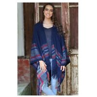 Angie Boho Navy Hooded Poncho with Stripes and Fringe Hem NWT One Size