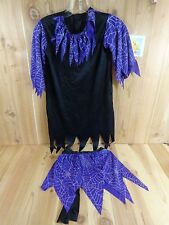 WITCH Costume Girls Small 4-6 Black Dress and Apron Purple Web Accents Halloween
