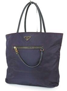 Authentic PRADA Purple Nylon Tote Hand Bag Purse #38771