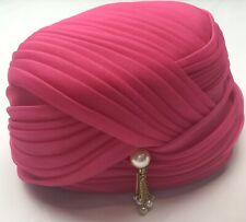 Mark Iii Vintage Hat Dark Pink Pearls Flapper Roaring Ages Nice!