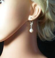 Handmade Faux Pearl and Diamante Earrings