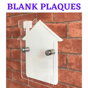 ACRYLIC PLAQUES*BLANK* without printing* house shape complete set+fittings