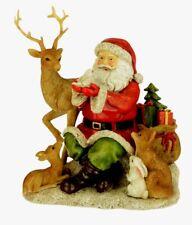 Santa with Stag Fox Rabbit Robin Woodland Animals Figurine Ornament 18cm Tall