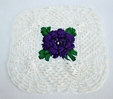 Vintage Doily Purple 3D Flower kitschy Retro Handmade Shabby Cottage Chic