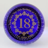 Limited Edition Caithness Glass Prince William 18th Birthday Paperweight 11/250