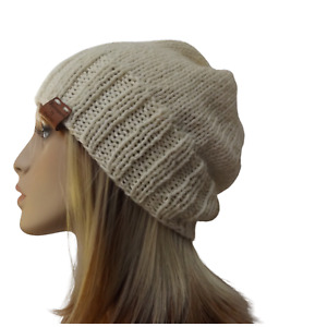 HAND KNITTED BEANIE WOMEN  SLOUCH  CREAM MERINO WOOL KNIT CAP LADIES M SIZE HAT