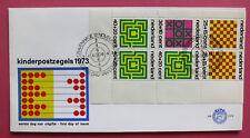FDC E 129a KINDBLOK 1042 Kinderzegels 1973 BLANCO + OPEN KLEP LOGO LEES !