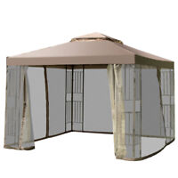 2-Tier 10'x10' Gazebo Canopy Shelter Awning Tent Outdoor w/Netting Screw-Free
