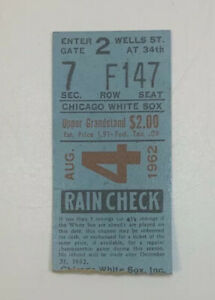 1962 Chicago White Sox v New York Yankees MLB Ticket Stub 8/4/62 Nellie Fox