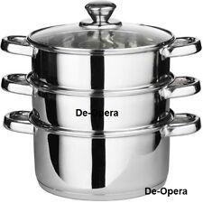 3 Tier Multi Steamer Set Colander Casserole Cooker Pan 22cm Cookware Saucepan BN