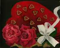 YARY DLUHOS ORIGINAL OIL PAINTING Valentine's Day Love Chocolate Box Red Roses