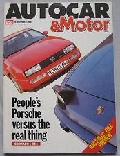 Autocar 16/11/1988 featuring VW Corrado G60, Porsche 944, Mazda 323 Turbo