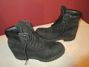 """Timberland Leather 6"""" Premium Waterproof All Black Boots 10073 Men's Size 7.5M"""