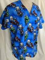 Peaches women's scrub top M med blue dogs motorcycle medical vet tech rider