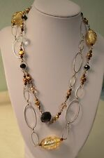 Glass, Crystal and Pearl Long Necklace