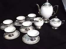 Coffee or Tea Set, White China with Platinum, Silver Design. #6930, 15 Piece Set
