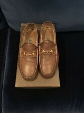 MEN'S AUTHENTIC GUCCI BROWN LEATHER HORSEBIT LOAFERS SIZE 8 1/2