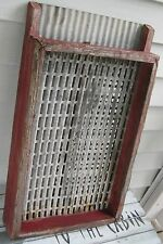 ANTIQUE WOODEN & TIN SEED SORTER OLD RED PAINT