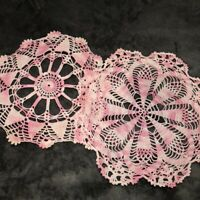 "Vintage Pink Crocheted Doilies Lot of 2 Hand Crocheted 11"" Round Excellent Cond."