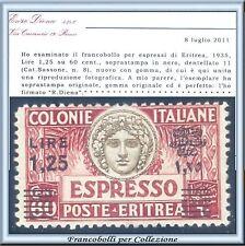 Colonie Italiane 1935 Eritrea Espresso n. 8 soprastampa nera Certificato Diena