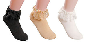 AM Landen®Super Cute Princess Lace Ruffle Frilly Ankle Socks-3 Pairs set