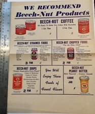 Vintage 1930's Beechnut Store Window Poster Coffee Soup Peanut Butter Baby Food