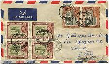 BRITISH GUIANA, AIR MAIL, ANNUL GEORGETOWN, 1958, STAMPS 2 X 12C + 4 X 3C      m