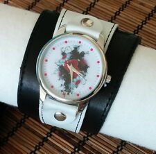 Flowers Love Heart Leather Watch wide band Women Classic Fashion Artistic