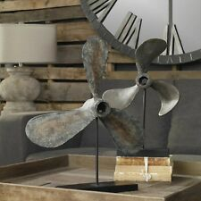 TWO COASTAL BEACH BOAT PROPELLERS PROPS & STANDS SCULPTURES NAUTICAL UTTERMOST