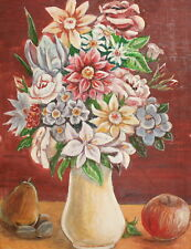 Vintage gouache painting still life with flowers and fruits signed
