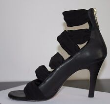 Rebecca Minkoff Femme Fatale Black Leather Sandals Strappy Shoes size 37.5