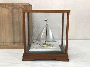 Y2352 OKIMONO Silver Yacht sailboat figure box Japan antique home decor interior