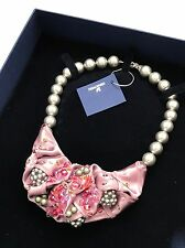 Swarovski Ribbon Pearl Necklace 1127208 $310 NWT Box Mauve Lilac Beads Crystal
