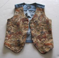 Carole Little Sport Denim Golds Tapestry Western Horse Cowgirl Rodeo Vest S Usa