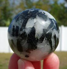 Green Tourmaline in Clear Quartz Crystal Sphere Ball Gem Stone Reiki Gemstone