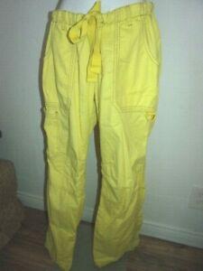 """"""" Lindsay """" Lemon Yellow Scrub Pants - KOI by Kathy Peterson, size Medium"""