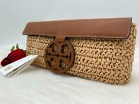 AUTH NWT Tory Burch Women's Miller Logo Straw Leather Clutch In Natural