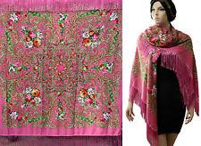 "Russian /Polish/Ukrainin Floral Shawl 80% Wool Huge 154cm/61"" Pink  #peones2"