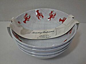 """Tommy Bahama 100% Melamine 7.5"""" Cereal Soup Bowls Set of 4 Lobster Design NEW"""