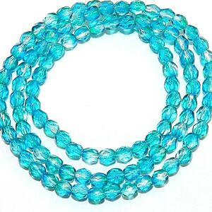 CZ2120 Crystal Clear & Blue 4mm Fire-Polished Faceted Round Czech Glass Bead 16""
