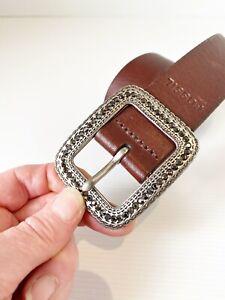 Small Womens Boho Cowgirl Fossil Brown Leather Belt Black Rhinestone Buckle VGC