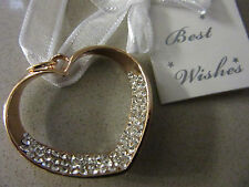 Gold Diamante Heart Wedding Bridal Good Luck Charm Horseshoe Bridal