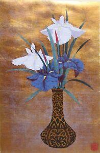 KAZUTOSHI SUGIURA-Japanese Modernist-Signed LIM.ED Silkscreen-Iris Still Life